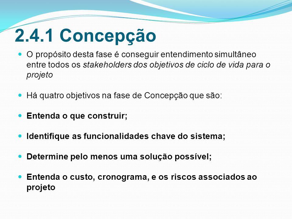 2.4.1 Concepção O propósito desta fase é conseguir entendimento simultâneo entre todos os stakeholders dos objetivos de ciclo de vida para o projeto.