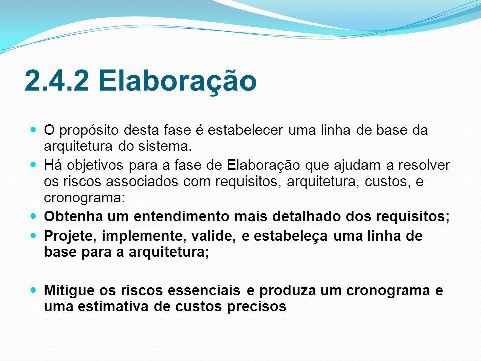 2.4.2 Elaboração O propósito desta fase é estabelecer uma linha de base da arquitetura do sistema.