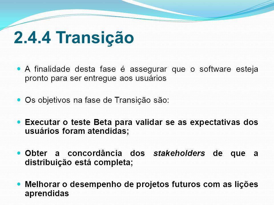 2.4.4 Transição A finalidade desta fase é assegurar que o software esteja pronto para ser entregue aos usuários.
