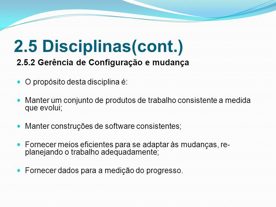 2.5 Disciplinas(cont.) 2.5.2 Gerência de Configuração e mudança
