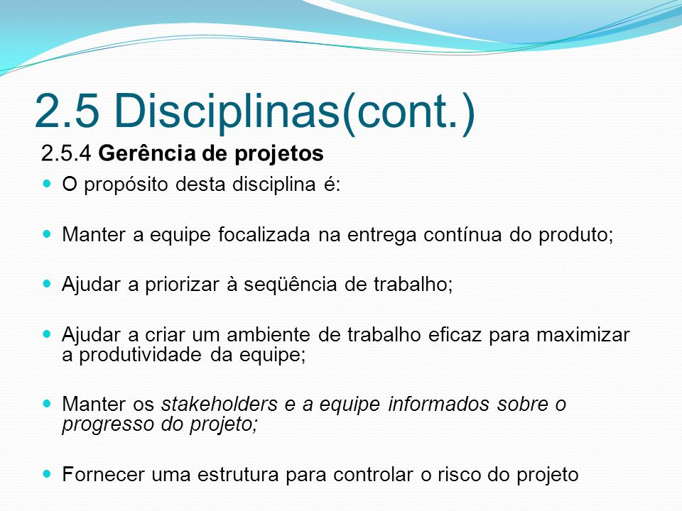 2.5 Disciplinas(cont.) 2.5.4 Gerência de projetos