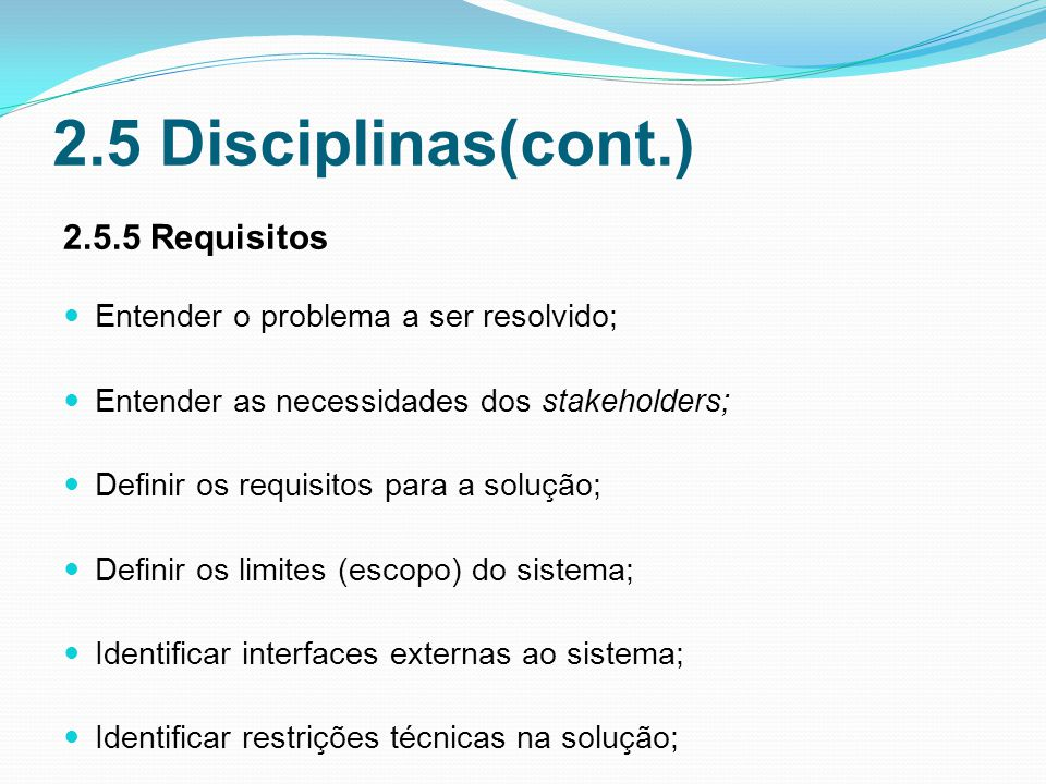 2.5 Disciplinas(cont.) 2.5.5 Requisitos