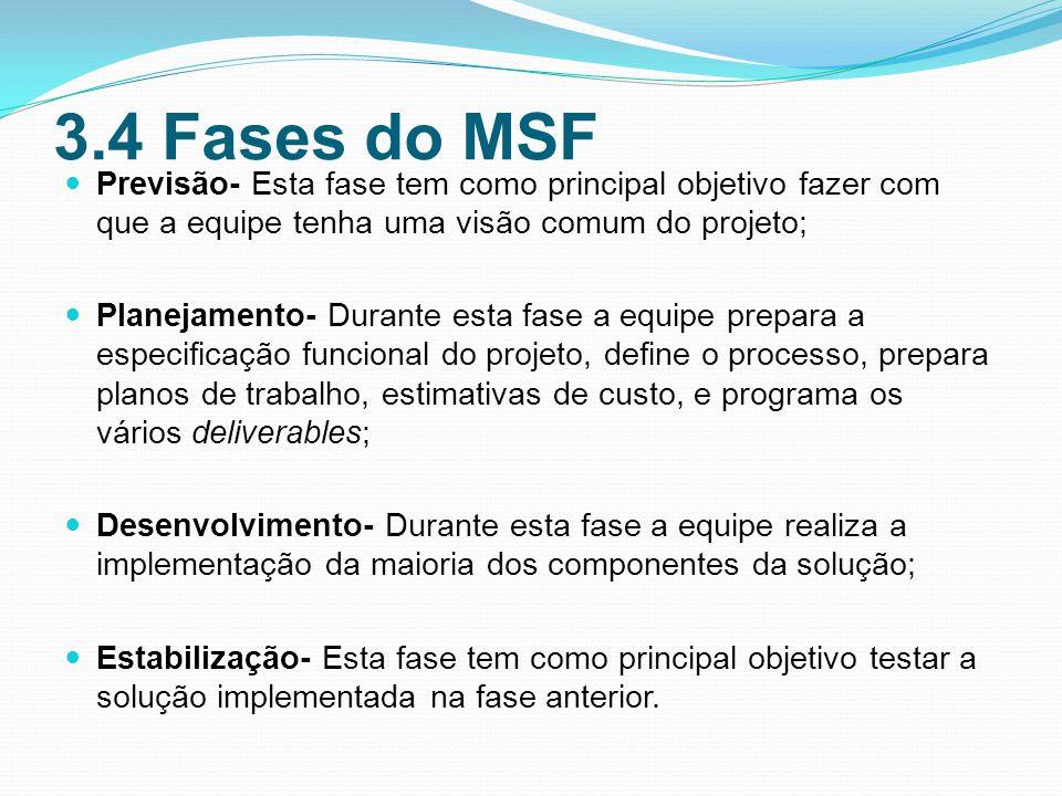 3.4 Fases do MSF Previsão- Esta fase tem como principal objetivo fazer com que a equipe tenha uma visão comum do projeto;