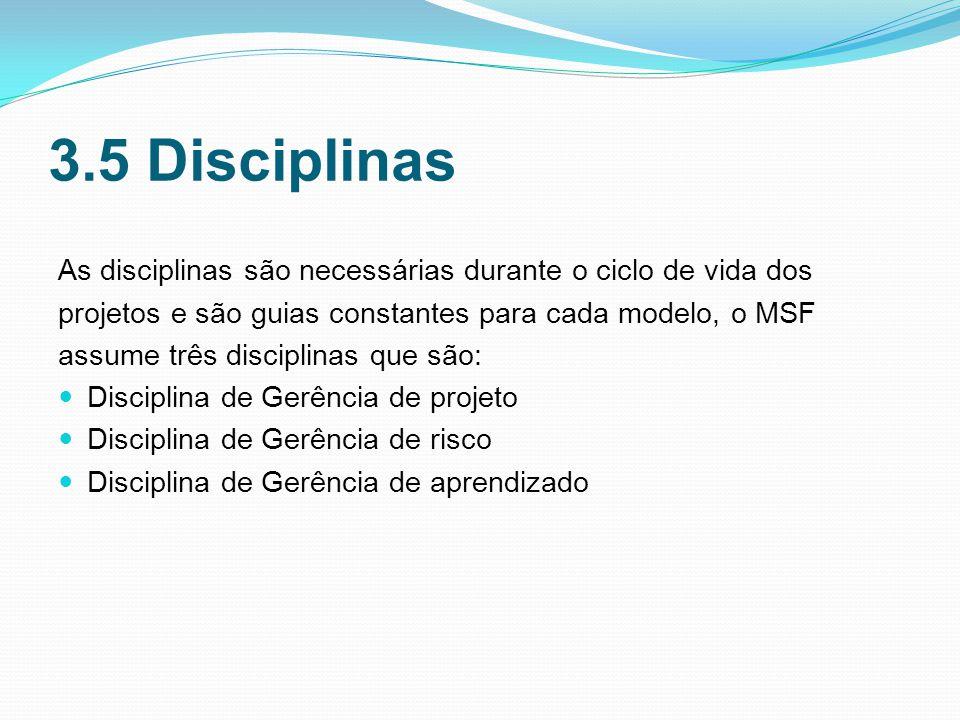 3.5 Disciplinas As disciplinas são necessárias durante o ciclo de vida dos. projetos e são guias constantes para cada modelo, o MSF.