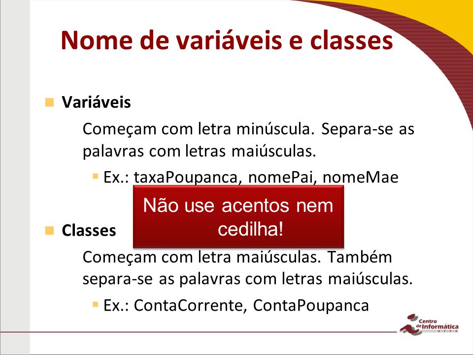 Nome de variáveis e classes
