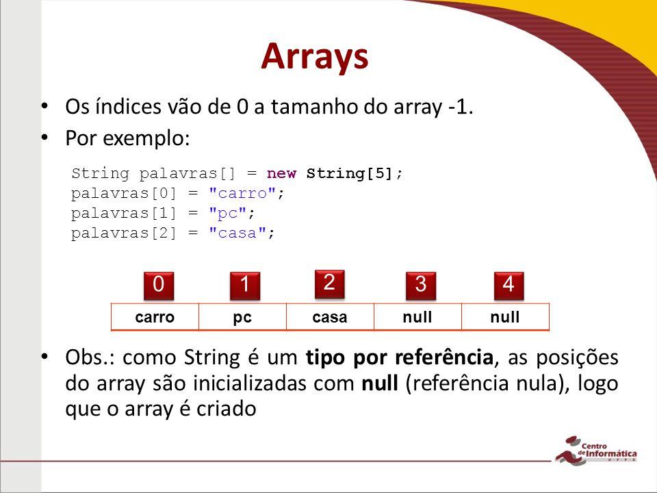 Arrays Os índices vão de 0 a tamanho do array -1. Por exemplo: