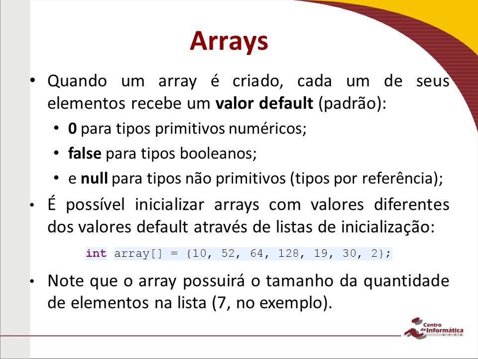 Arrays Quando um array é criado, cada um de seus elementos recebe um valor default (padrão): 0 para tipos primitivos numéricos;