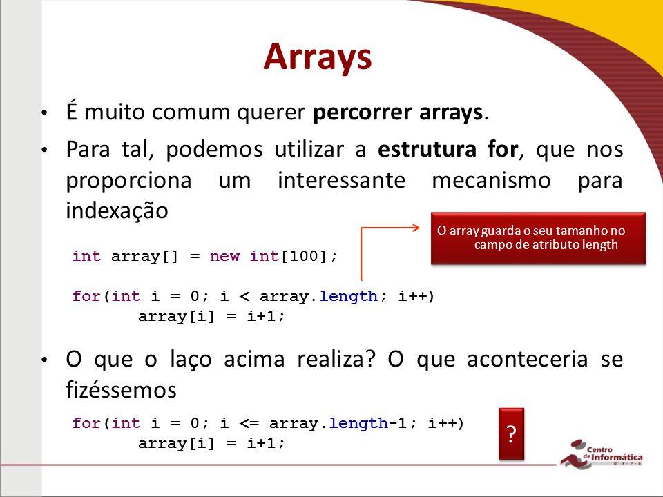 Arrays É muito comum querer percorrer arrays.