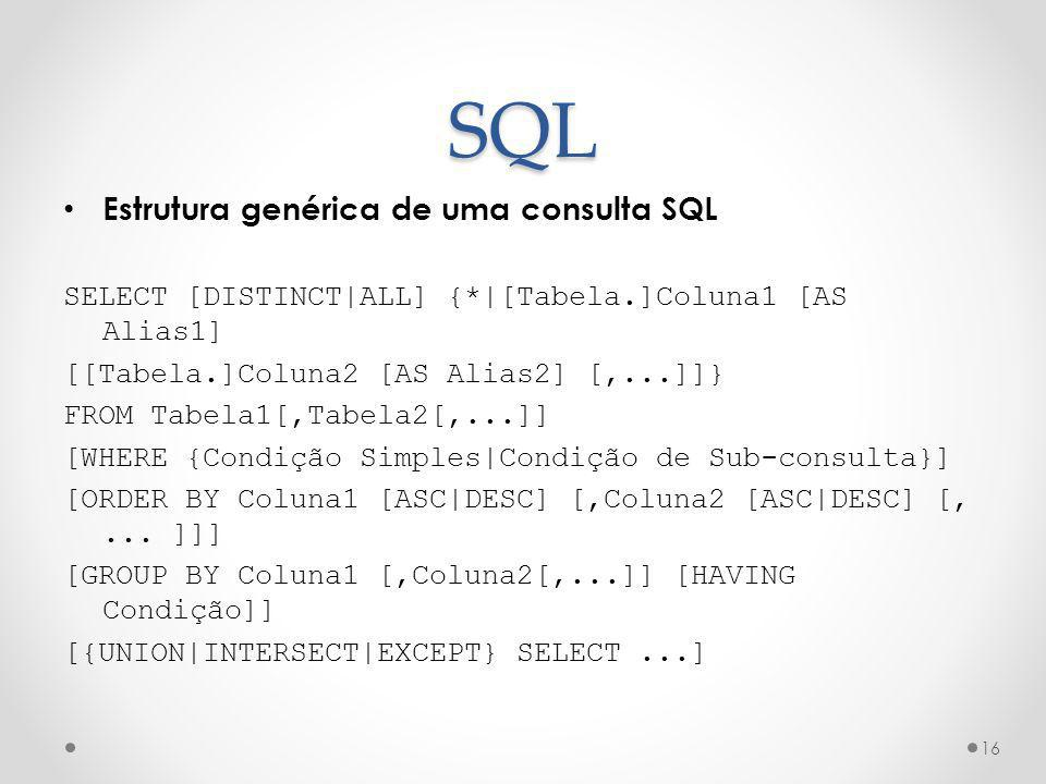 SQL Estrutura genérica de uma consulta SQL