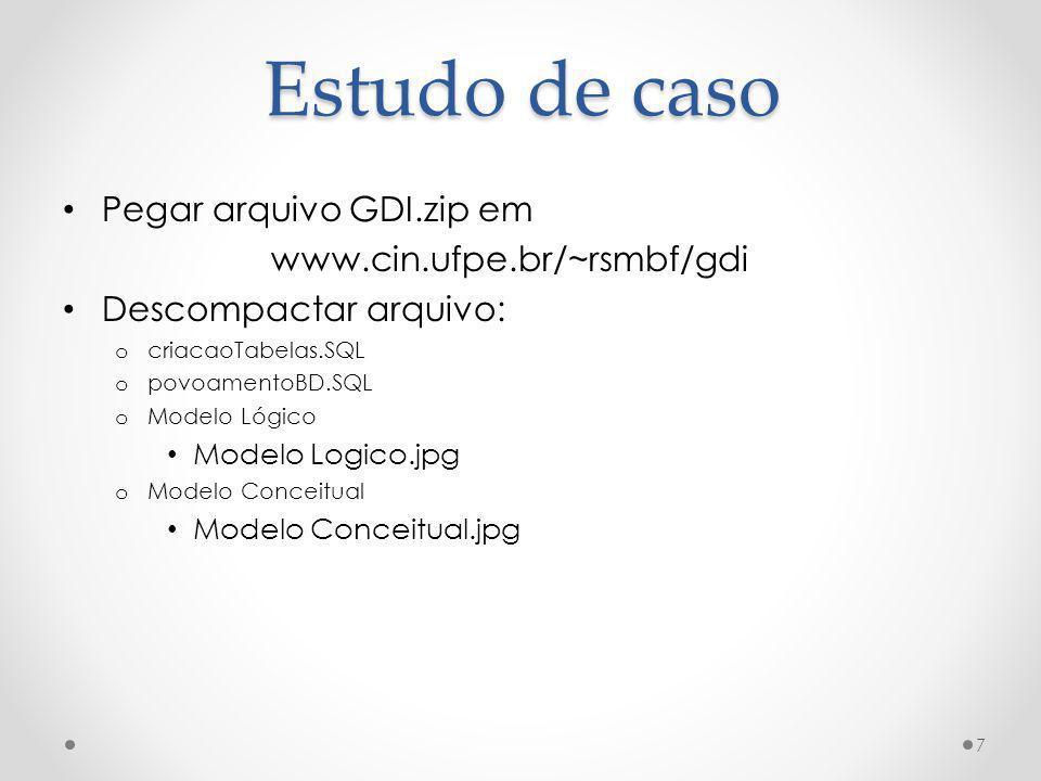 Estudo de caso Pegar arquivo GDI.zip em www.cin.ufpe.br/~rsmbf/gdi