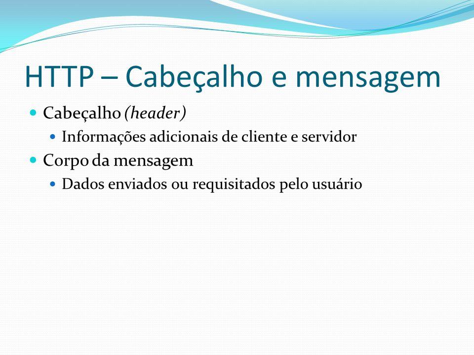 HTTP – Cabeçalho e mensagem