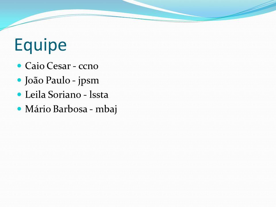 Equipe Caio Cesar - ccno João Paulo - jpsm Leila Soriano - lssta