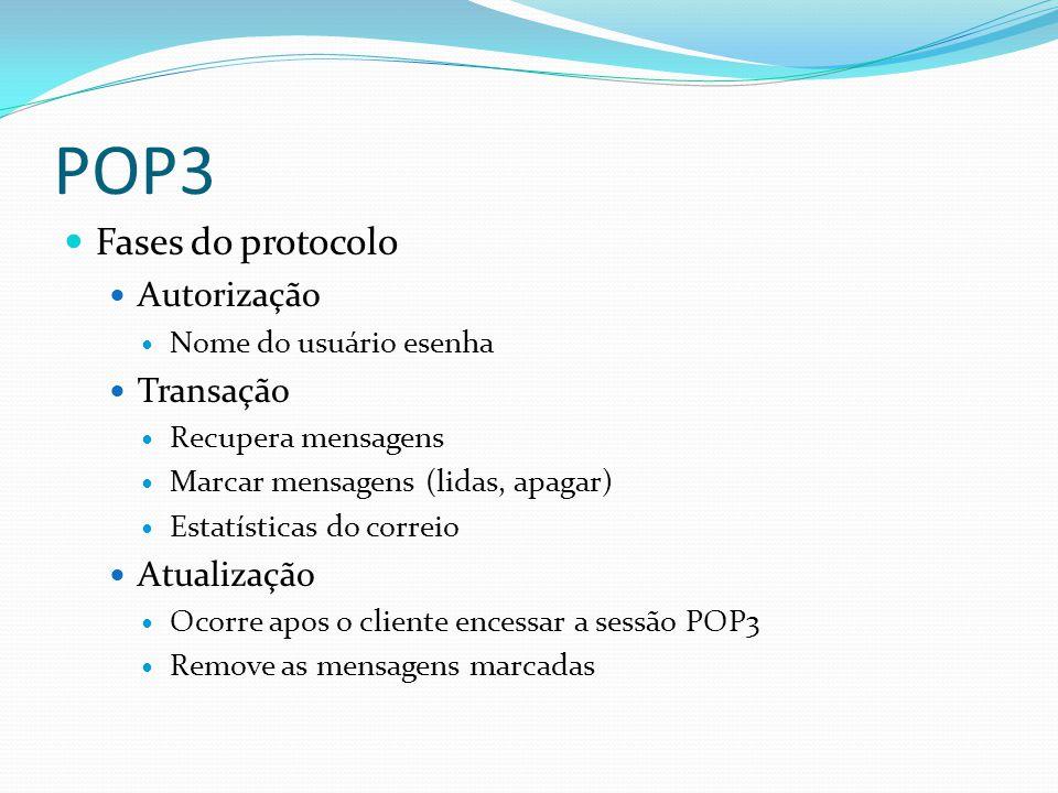 POP3 Fases do protocolo Autorização Transação Atualização