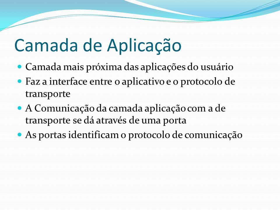 Camada de Aplicação Camada mais próxima das aplicações do usuário
