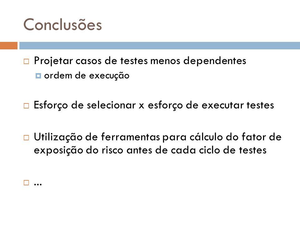 Conclusões Projetar casos de testes menos dependentes