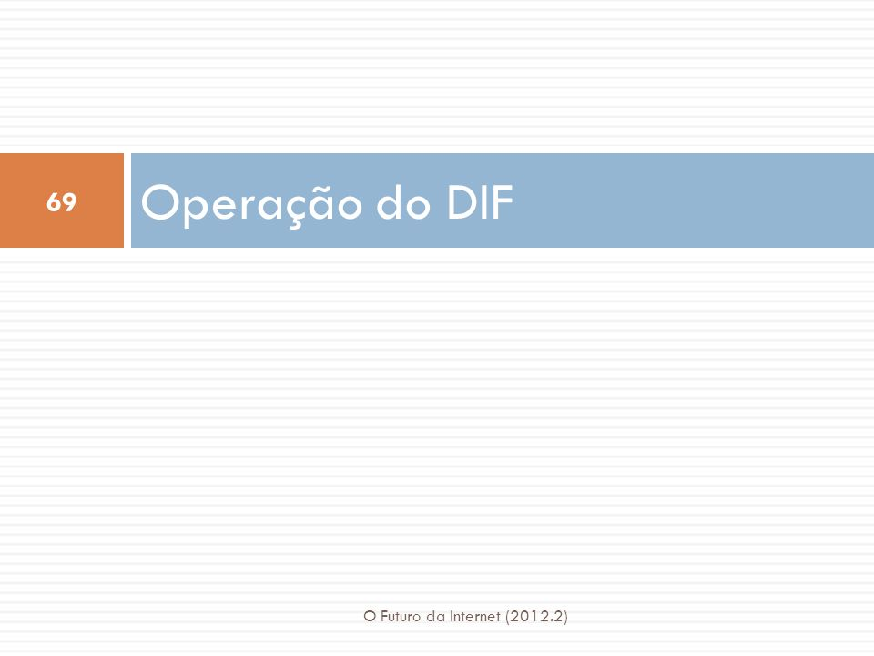 Operação do DIF O Futuro da Internet (2012.2)