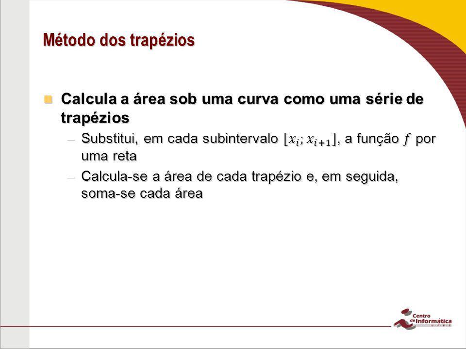 Método dos trapézios Calcula a área sob uma curva como uma série de trapézios.