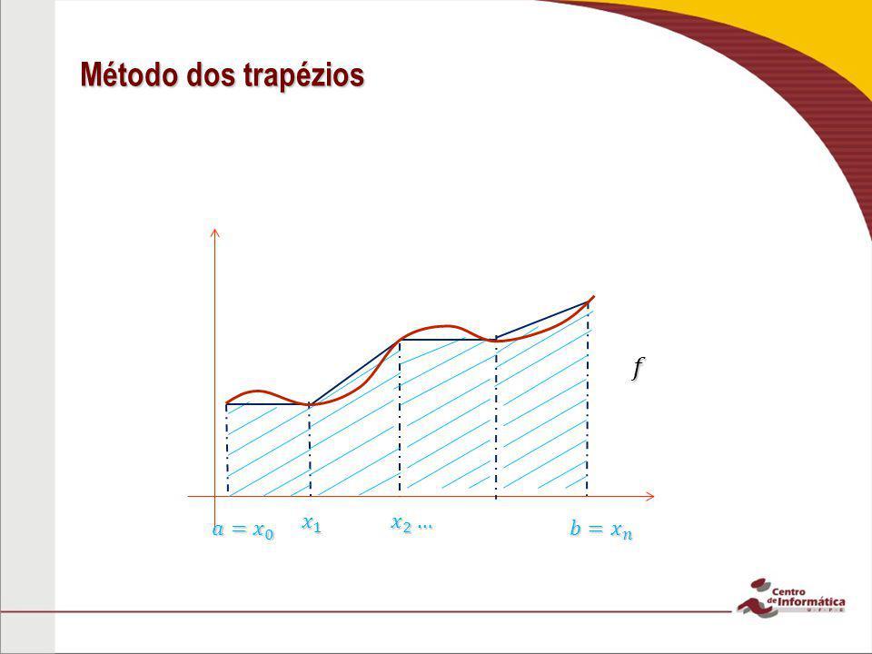 Método dos trapézios 𝑓 𝑎=𝑥 0 𝑥 1 𝑥 2 … 𝑏=𝑥 𝑛