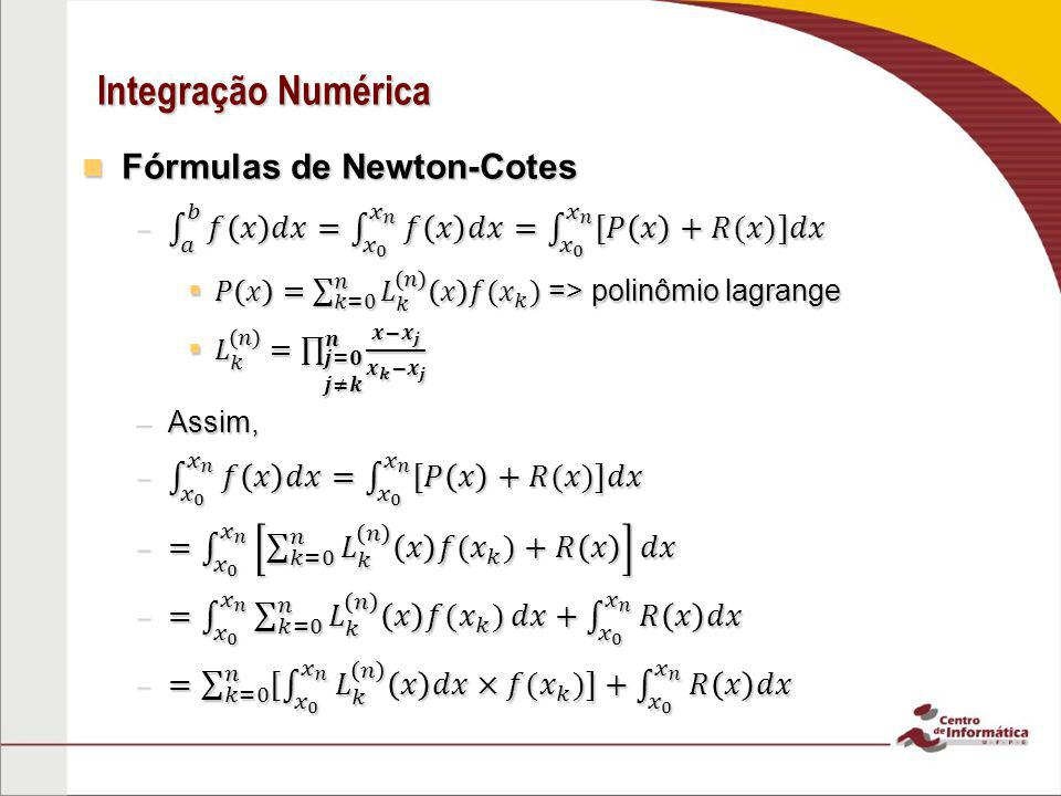 Integração Numérica Fórmulas de Newton-Cotes