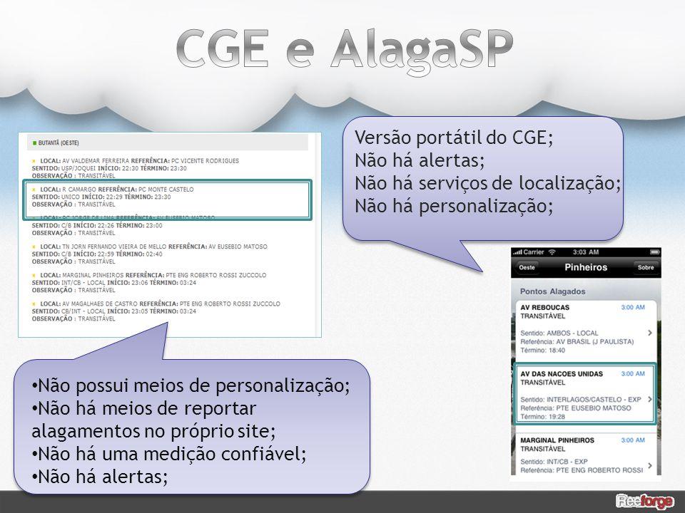 CGE e AlagaSP Versão portátil do CGE; Não há alertas;