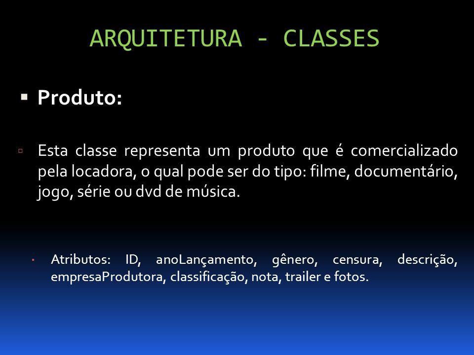ARQUITETURA - CLASSES Produto: