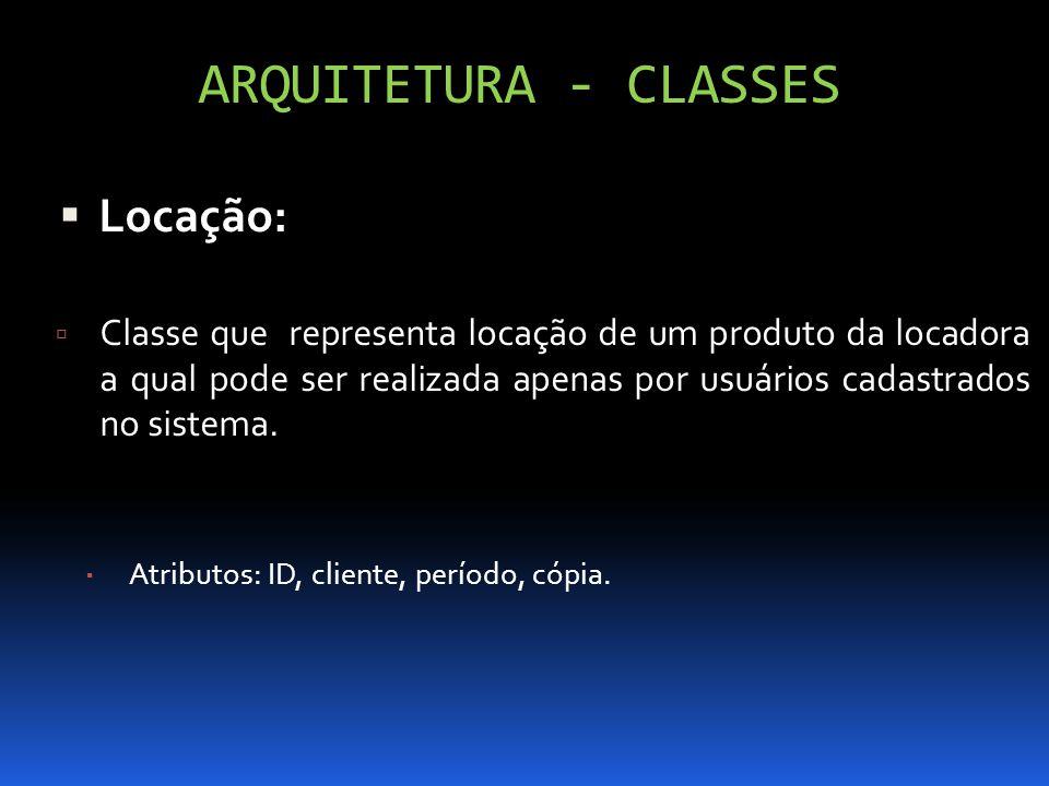 ARQUITETURA - CLASSES Locação: