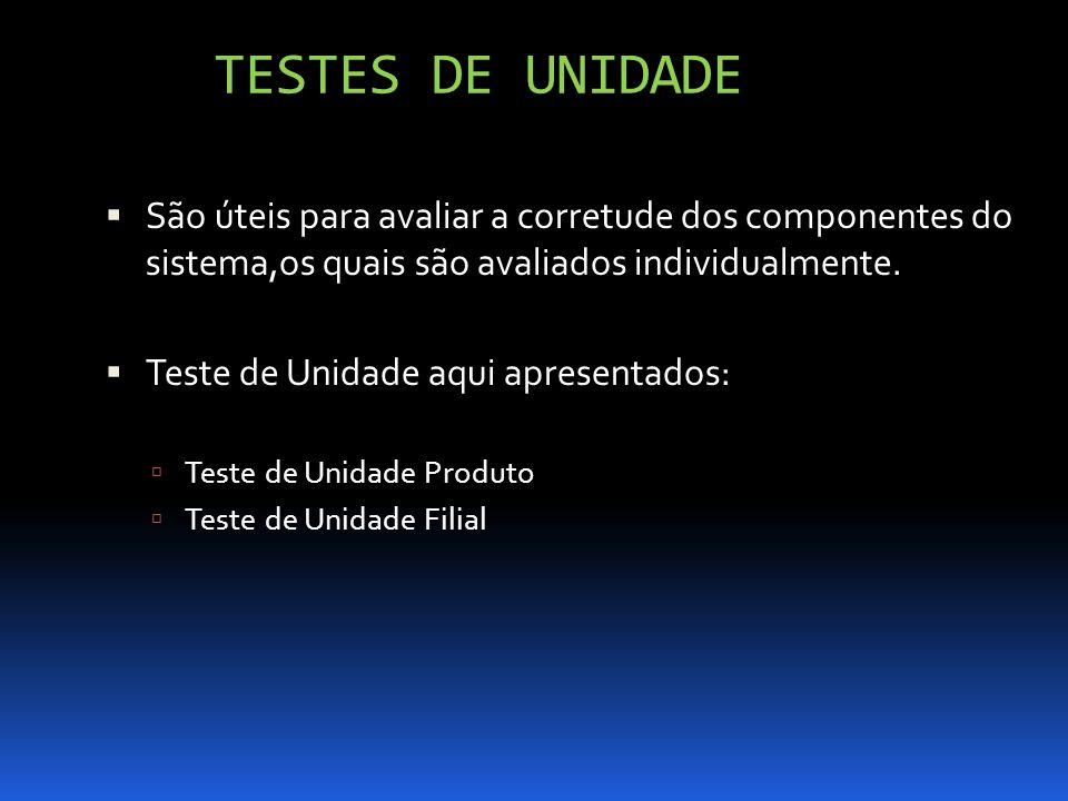 TESTES DE UNIDADE São úteis para avaliar a corretude dos componentes do sistema,os quais são avaliados individualmente.