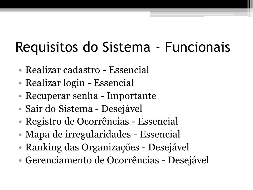 Requisitos do Sistema - Funcionais