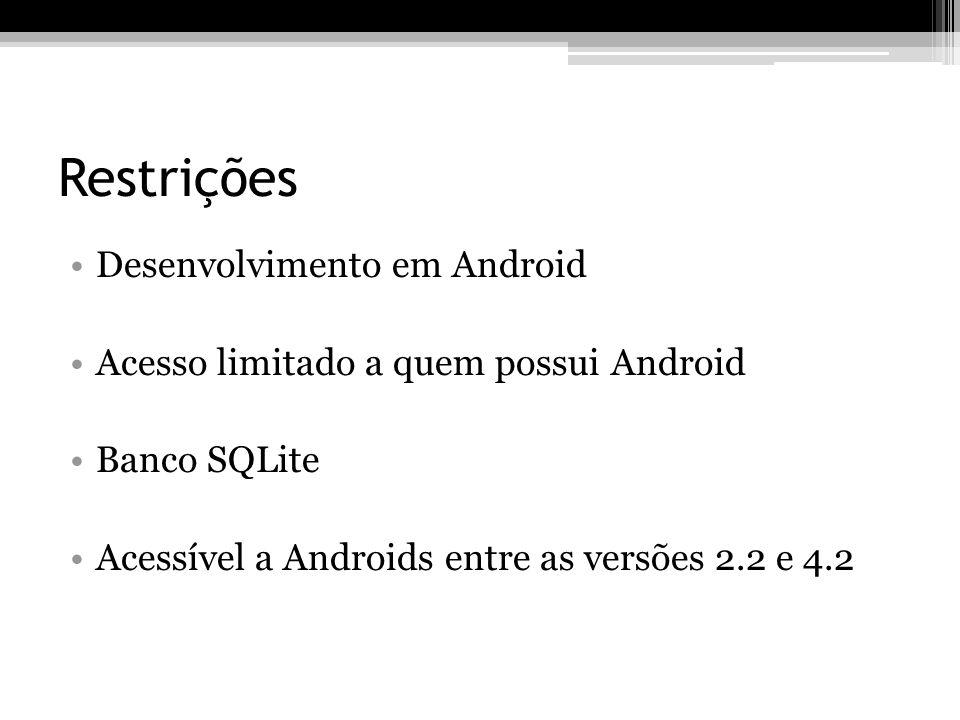 Restrições Desenvolvimento em Android