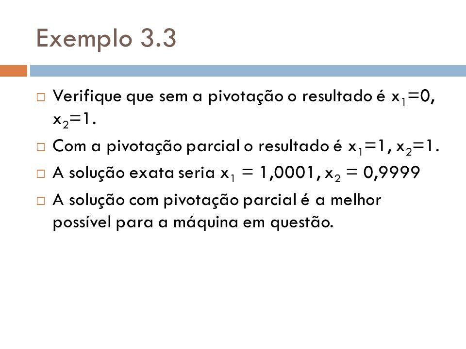 Exemplo 3.3 Verifique que sem a pivotação o resultado é x1=0, x2=1.