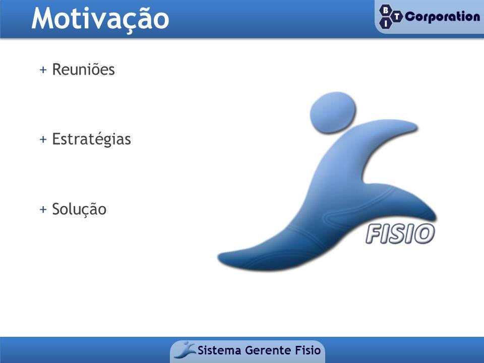 Motivação + Reuniões + Estratégias + Solução Sistema Gerente Fisio