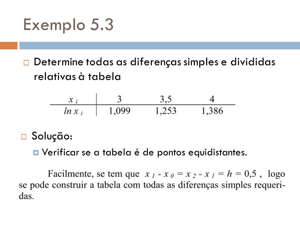 Exemplo 5.3 Determine todas as diferenças simples e divididas relativas à tabela.