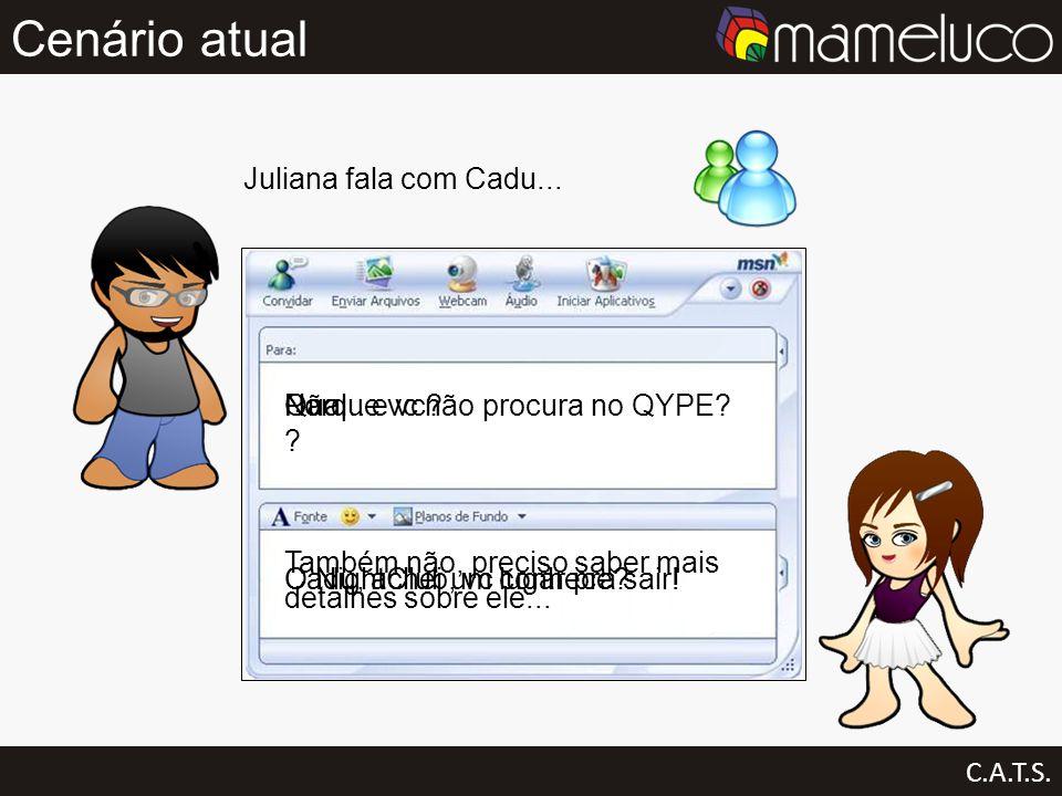 Cenário atual Juliana fala com Cadu... Não... e vc