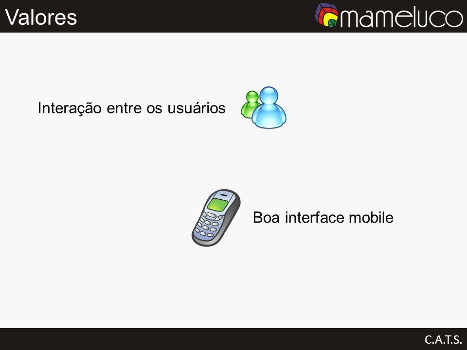 Valores Interação entre os usuários Boa interface mobile C.A.T.S.