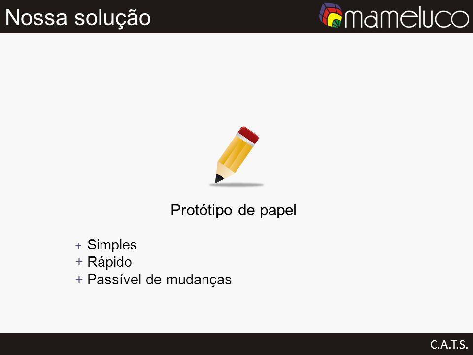 Nossa solução Protótipo de papel Rápido Passível de mudanças C.A.T.S.