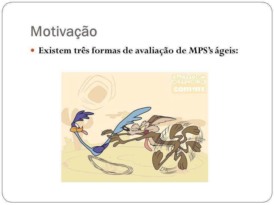Motivação Existem três formas de avaliação de MPS's ágeis:
