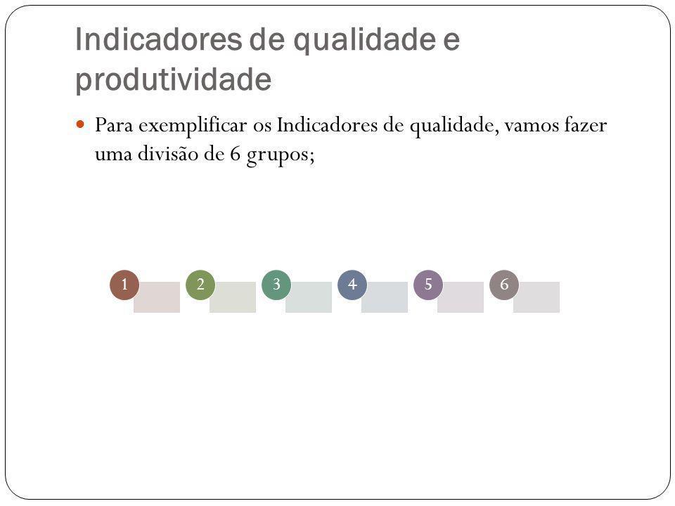 Indicadores de qualidade e produtividade