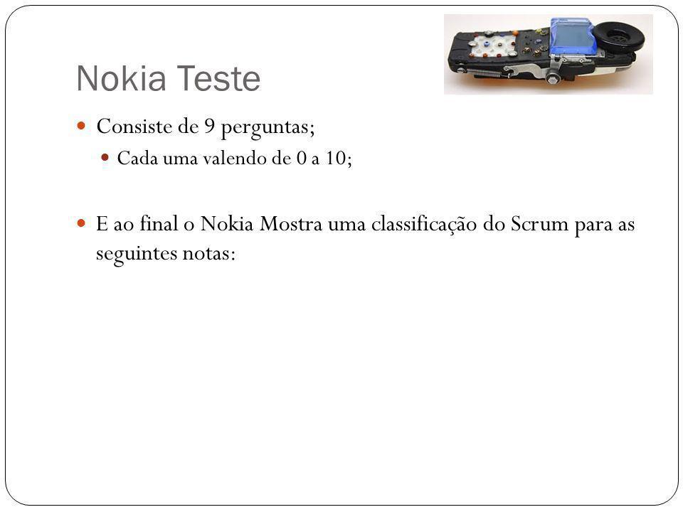 Nokia Teste Consiste de 9 perguntas;