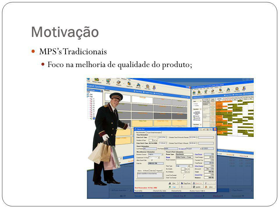 Motivação MPS's Tradicionais Foco na melhoria de qualidade do produto;