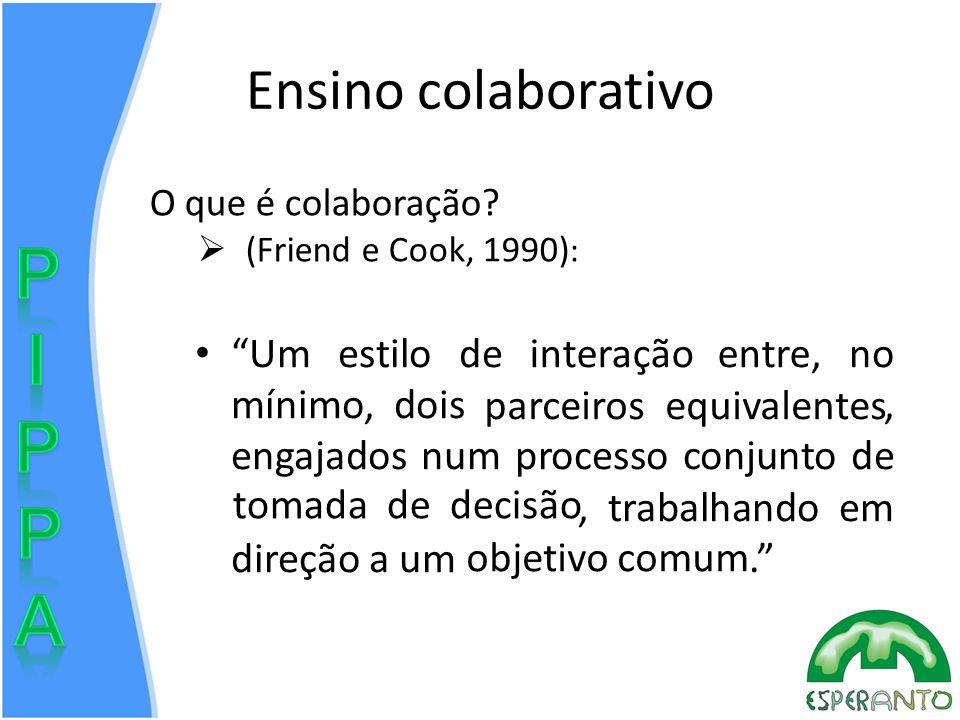 Ensino colaborativo O que é colaboração (Friend e Cook, 1990):