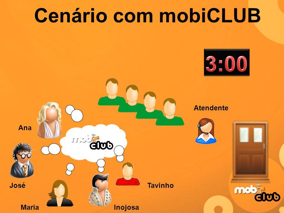 Cenário com mobiCLUB 3:00 Atendente Ana José Tavinho Maria Inojosa