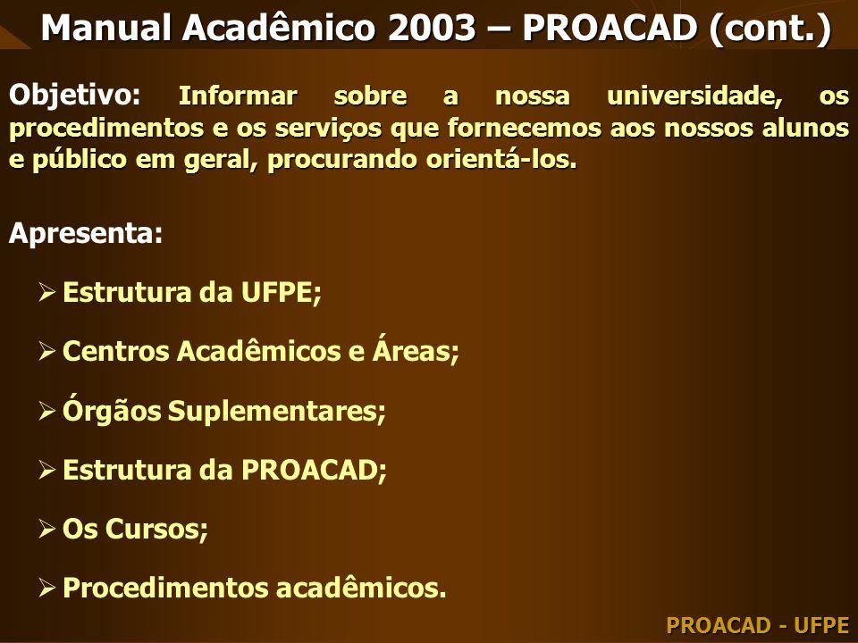 Manual Acadêmico 2003 – PROACAD (cont.)