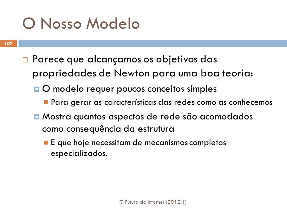 O Nosso Modelo Parece que alcançamos os objetivos das propriedades de Newton para uma boa teoria: O modelo requer poucos conceitos simples.