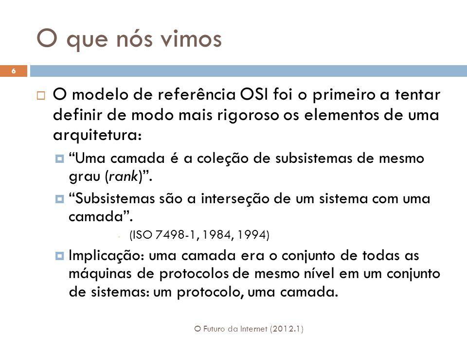 O que nós vimos O modelo de referência OSI foi o primeiro a tentar definir de modo mais rigoroso os elementos de uma arquitetura: