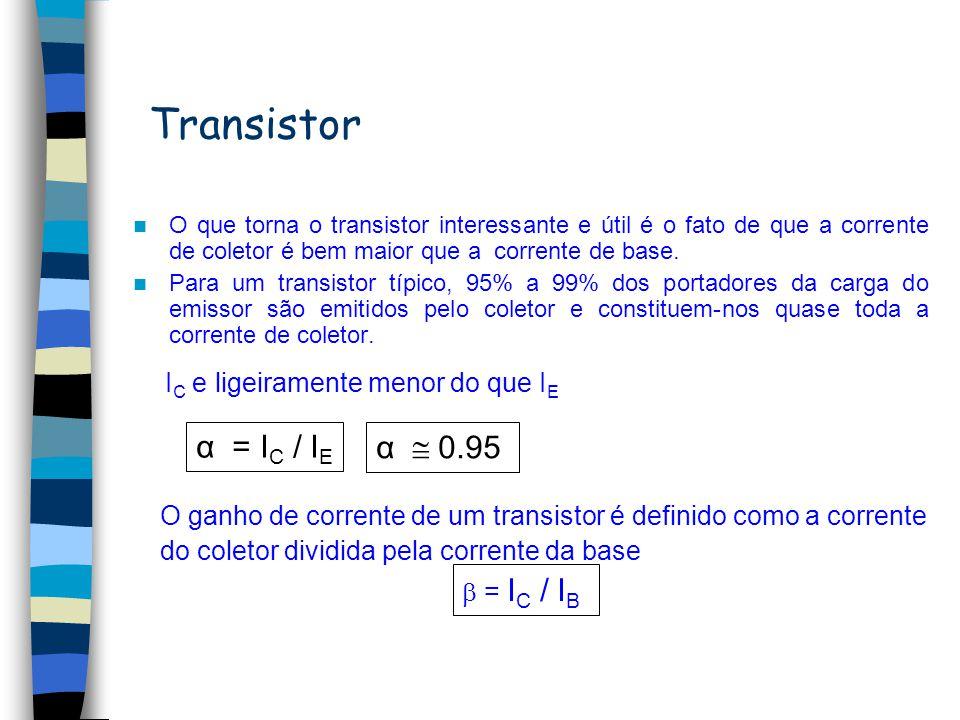 Transistor α = IC / IE α  0.95 IC e ligeiramente menor do que IE