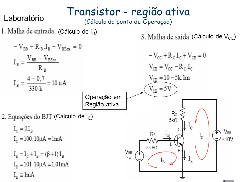 Transistor - região ativa (Cálculo do ponto de Operação)