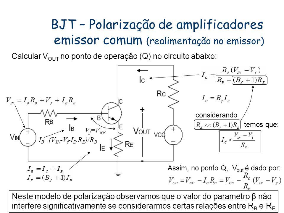 BJT – Polarização de amplificadores emissor comum (realimentação no emissor)