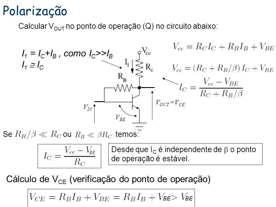 Polarização I1 = IC+IB , como IC>>IB I1  IC