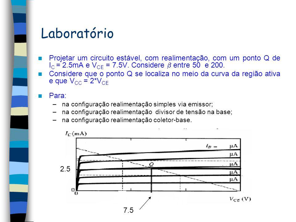 Laboratório Projetar um circuito estável, com realimentação, com um ponto Q de IC = 2.5mA e VCE = 7.5V. Considere  entre 50 e 200.