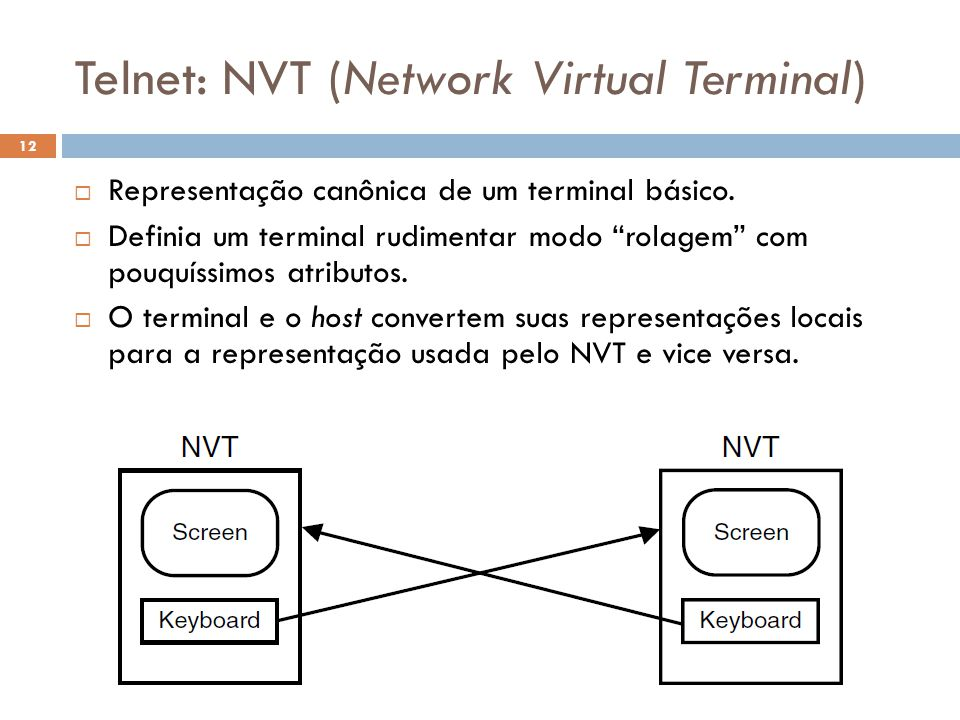 Telnet: NVT (Network Virtual Terminal)